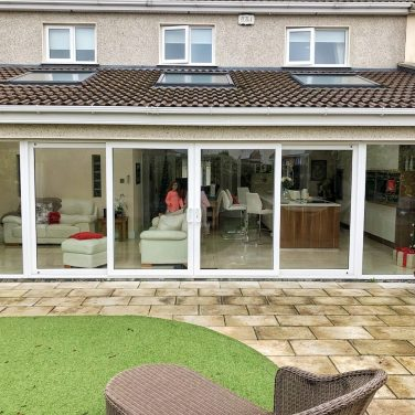 PVC White Double Glazed Extra Wide Sliding Door With 2 Sidelights