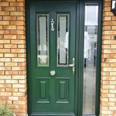 Palladio Composite Door Palermo Style TG182 Satin Green on White with 1 Sidelight
